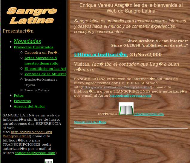 Estilos de Web del Siglo Pasado: Sangre Latina, desde Octubre del 97 en Internet!